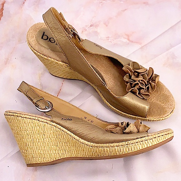 Bolo leather brown open toe espadrilles size 10